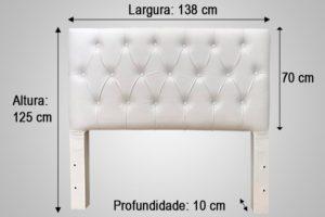 Cabeceira Casal Branco 138cm de Largura - Modelo Hera