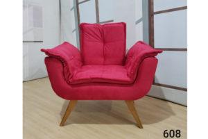 Poltrona Vermelho Claro 80cm de Largura Modelo Opala