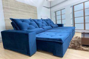 Sofá Retrátil Azul 2.90 m de Largura – Modelo Delta- Bom Preço