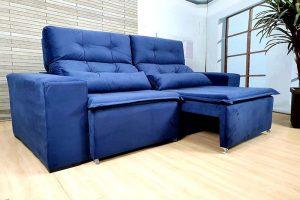 Sofá Retrátil Azul 2.00 m de Largura - modelo Zeus