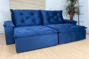 Sofá Retrátil Azul 2.00 m de largura - Modelo Búzios