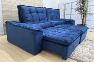 Sofá Retrátil Azul 2.10 m de Largura - Modelo 345