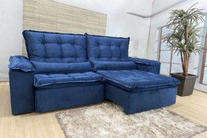 Sofá Retrátil Azul 2.10 m de Largura - Modelo 345 - Bom Preço