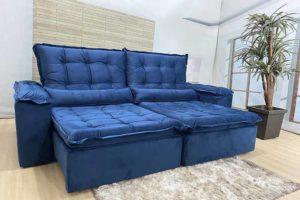 Sofá Retrátil Azul 2.10 m de Largura - Modelo 345..