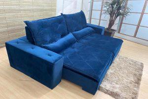 Sofá Retrátil Azul 2.10 m de Largura- Modelo Esplendor - Oferta