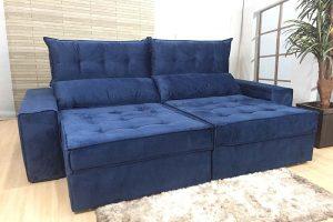 Sofá Retrátil Azul 2.50 m de Largura - Modelo Quebec-