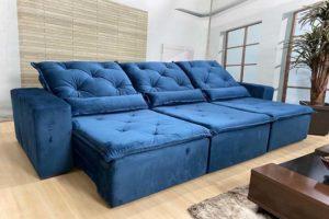 Sofá Retrátil Azul 2.90 m de Largura 335 Bom preço