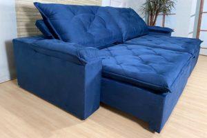 Sofá Retrátil Azul 2.90 m de Largura - Modelo Líbano