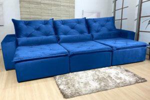 Sofá Retrátil Azul 3.20 m de Largura - Modelo Eros