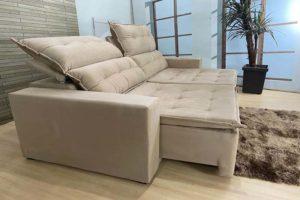Sofá Retrátil Bege 2.20 m de Largura – Modelo Califórnia Promoção (2)