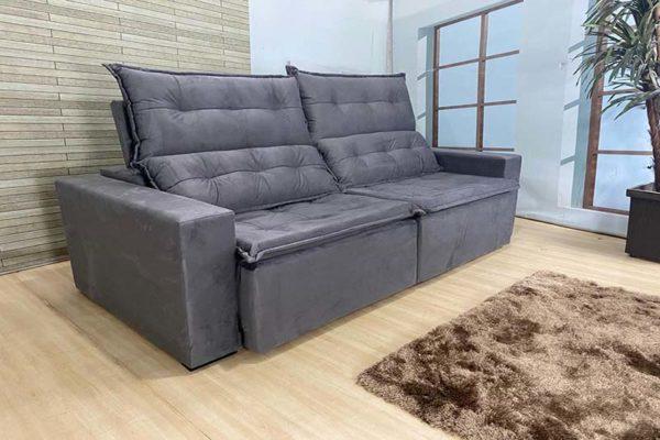 Sofá Retrátil Cinza 2.20 m de Largura – Modelo Califórnia - Bom Preço (2)