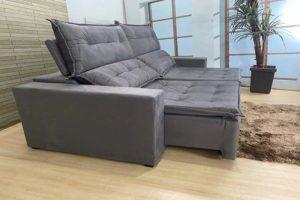 Sofá Retrátil Cinza 2.20 m de Largura – Modelo Califórnia - Bom Preço