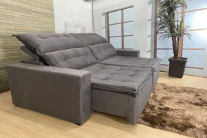 Sofá Retrátil Cinza 2.20 m de Largura – Modelo Califórnia - Liquidação