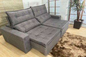 Sofá Retrátil Cinza 2.20 m de Largura – Modelo Califórnia - Promoção
