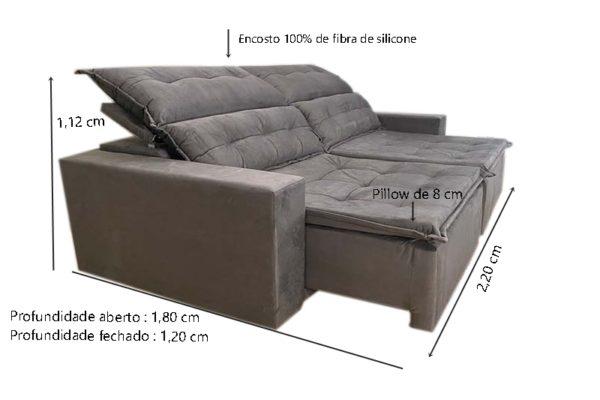 Sofá Retrátil Cinza 2,20 m de Largura modelo Califórnia