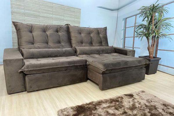 Sofá Retrátil Marrom 2.50 m de Largura - Modelo Cairo - Bom Preço