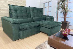 Sofá Retrátil Verde 2.30 m de Largura - Modelo Florença - Imperdível