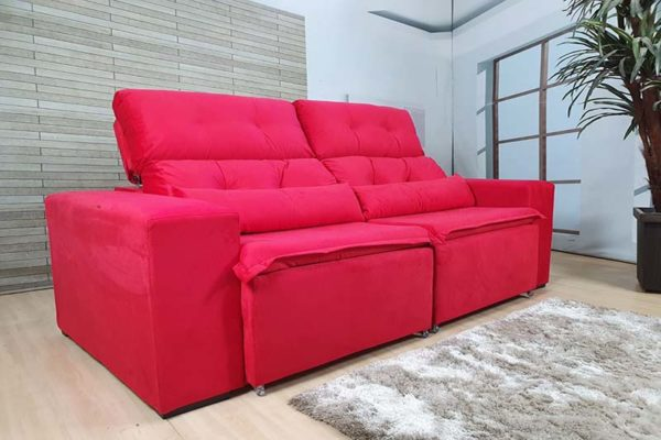 Sofá Retrátil Vermelho 1.94 m de Largura modelo Zeus -