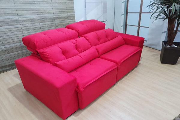 Sofá Retrátil Vermelho 1.94 m de Largura modelo Zeus Oferta