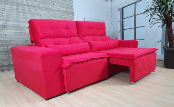 Sofá Retrátil Vermelho 1.94 m de Largura modelo Zeus Promoção
