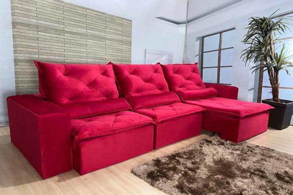 Sofá Retrátil Vermelho 2.90 m de Largura – Modelo Delta