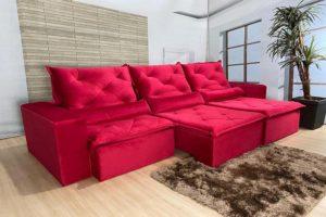 Sofá Retrátil Vermelho 2.90 m de Largura – Modelo Delta - Bom Preço