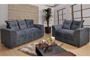 Sofá de 2 e 3 Cinza Lugares 1,40cm de Largura Modelo Porto