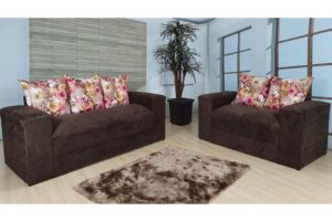 Sofá de 2 e 3 Lugares Marrom Com floral 1,80m de Largura Modelo Ravi