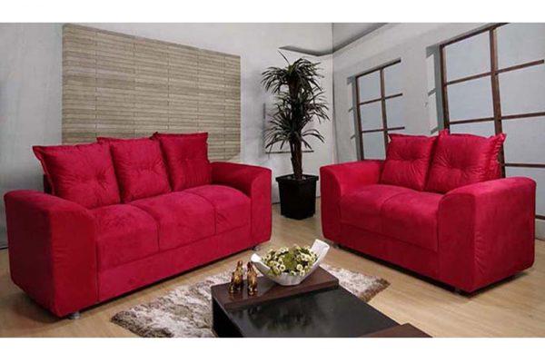 Sofá de 2 e 3 Lugares Vermelho 1,48 cm de Largura Modelo Chile