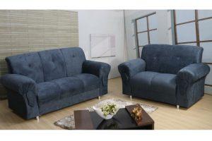 Sofá de 2 e 3 lugares Azul Modelo Fortaleza