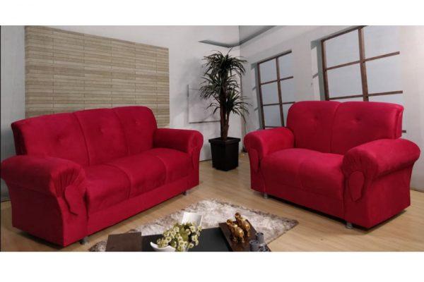 Sofá de 2 e 3 lugares Vermelho Modelo Fortaleza