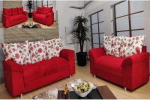 Sofá de 2 e 3 lugares Vermelho com floral 1,48 cm de Largura Modelo Chile