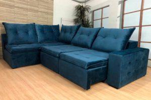 Sofá de Canto Retrátl Azul - Modelo Geriba