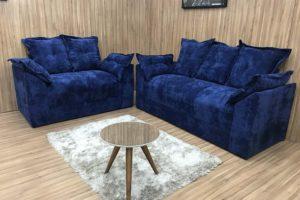 Sofá 2 e 3 Lugares Azul - Modelo Paris