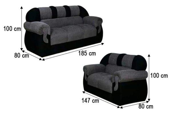 Sofá Preto de 2 e 3 Lugares - Modelo Corsa