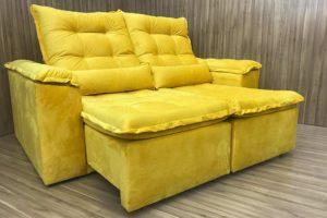 Sofá Retrátil 1.80 m - Modelo Amanda - Amarelo 331