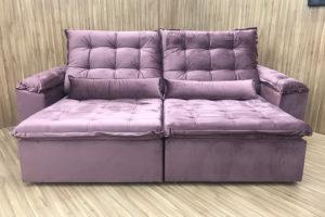 Sofá Retrátil 1.80 m - Modelo Amanda - Rose Escuro 329
