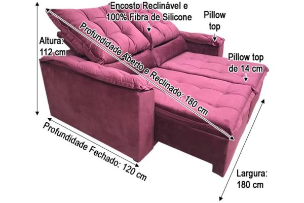 Sofá Retrátil 1.80 m - Modelo Amanda - Vinho 323