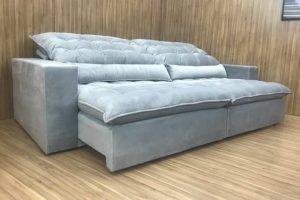 Sofá Retrátil 1.80 m - Modelo Laura - Cinza Claro 321