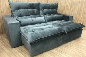 Sofá Retrátil 1.80 m - Modelo Laura - Cinza Escuro 330