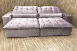 Sofá Retrátil 2.10 m - Modelo Laura - Rose Claro 326
