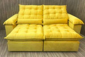 Sofá Retrátil 1.90 m - Modelo Campinas - Amarelo 331
