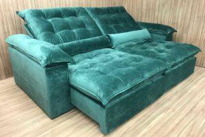 Sofá Retrátil 1.90 m - Modelo Campinas - Verde 324