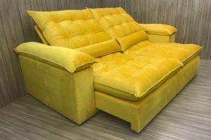 Sofá Retrátil 2.10 m - Modelo Campinas - Amarelo 331