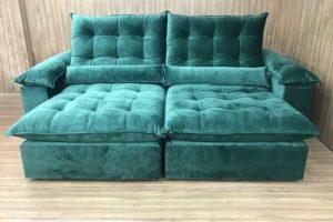 Sofá Retrátil 2.10 m - Modelo Campinas - Verde 324