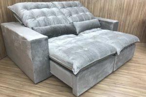 Sofá Retrátil 2.10 m - Modelo Laura - Bege 319