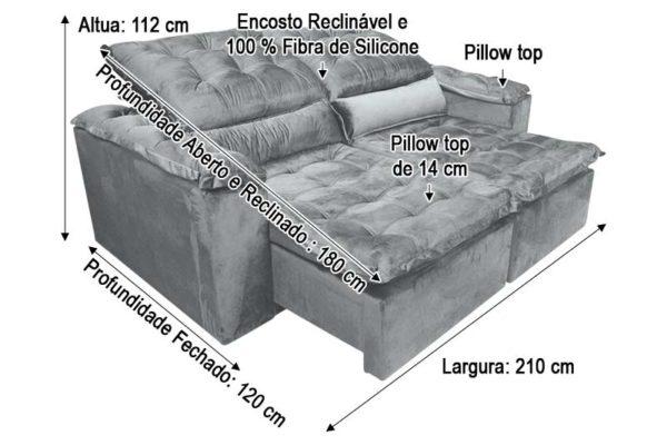 Sofá Retrátil 2.10 m - Modelo Munique - Cinza Claro 321