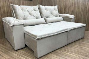 Sofá Retrátil 2.10 m - Modelo Zuqui - Bege 501
