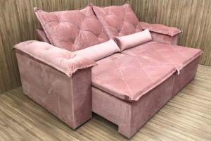 Sofá Retrátil 2.10 m - Modelo Zuqui - Rosa Claro 508