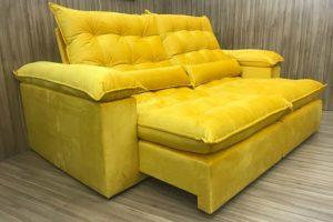 Sofá Retrátil 2.30 m - Modelo Campinas - Amarelo 331